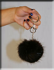 New Dark Brown Beaver Fur Key Chain - Extra Large Size - Efurs4less