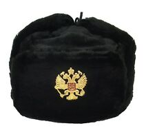 USHANKA*Russian Winter Hat*Military Style*w/Imperial Eagle Crest Badge*BLACK*M*