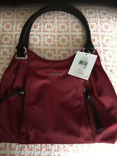 Calvin Klein Sat Sangria  Nylon Zip Satchel  Bag Handbag Purse NWT