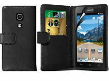 Black Wallet Flip Leather Case Cover For Huawei Ascend Y530