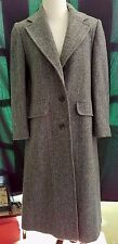 Vintage Herringbone Tweed Union Made USA Wool Trench Coat Lined Pockets Small PS