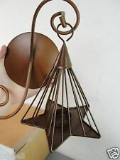 WALL SCONCE HANGING CANDLE HOLDER TWIN STAR SHAPE BROWN IRON HUNG NEW IN BOX NIB