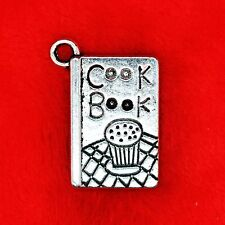 4 x Tibetan Silver Cook Book with Muffin Charm Pendant Beading Jewellery Making