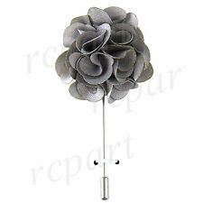 New in box formal Men's Suit chest brooch silver fabric flower lapel pin prom