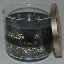 NEW BATH BODY WORKS BLACK TIE SCENTED CANDLE 3 WICK 14.5 OZ LARGE DECORATIVE LID