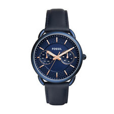 "Fossil ES4092 ""Tailor"" Multifunction Day/Date Leather Blue Watch"