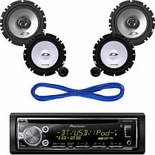 "Pioneer Bluetooth Car CD MP3 Radio,Alpine 6.5"" Speaker Component System & Wires"