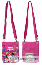 Disney Dark Pink Minnie Mouse Wallet Camera Pouch Bag Purse Shoulder Strap 7.5""