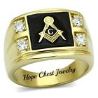 MEN'S GOLD TONE STAINLESS STEEL CUBIC ZIRCONIA MASONIC RING - SIZE 8 - 14