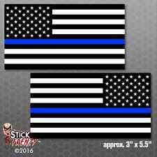 Thin Blue Line Flag Sticker 2 Pack Police USA Vinyl Decal Lives Matter FS280