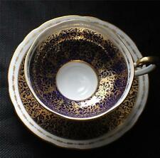 Vintage AYNSLEY Bone China England Gold Filigree COBALT High Foot Cup & Saucer