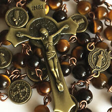 VINTAGE ST.BENEDICT Tiger Eye Beads 5 DECADE ROSARY CROSS CATHOLIC NECKLACE GIFT
