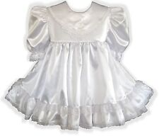 """Camille"" Custom Fit WHITE Satin Adult Baby LG Sissy Dress LEANNE"