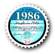 Retro 1986 Tax Disc Disk Replacement Vintage Novelty Licence Car sticker decal