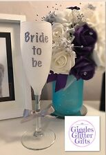 Bride To Be Glitter Glass Champagne Flute Present Gift Wedding Mrs