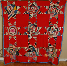 VIBRANT Vintage String Star Touching Star Crazy Antique Quilt Top ~RED GROUND!