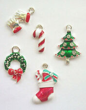 5 Enamel and Rhinestone CHRISTMAS CHARMS -- lot 3 Holiday Charm Findings