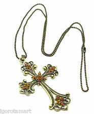 Bohemian Summer Champagne  Bronze Cross Pendant Necklace Retro Sweater Chain