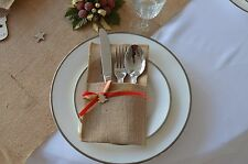 Christmas Tree Cutlery Holder Wooden Gold Red Ribbon Table Decor Handmade