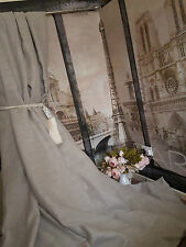 """NEW! Huge MTM 110""""W130""""D Rustic Stone 100%Irish Linen Cotton Lined Bay Curtains"""