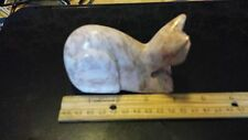 Carved marble Cat Figurine~shades of orange and cream ~Collectible Cat Statue