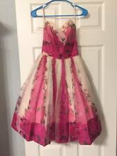 XS 50s Pink Roses Sweetheart Strapless Party Dress Vintage Prom Valentines Sale!
