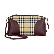 Burberry Horseferry Check and Leather Clutch - Honey/Deep Claret