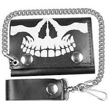 BIKER SKULL TRI-FOLD LEATHER WALLET WITH CHAIN
