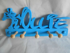 wooden coat pegs hook hangers personalised Walt Disney name style with mickey