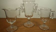 EAPG Aetna Glass Wheel & Comma Spooner, Creamer & Sugar Bowl Server Set Cr 1881