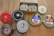 LOT OF 4 VINTAGE FLY FISHING REELS & FISHING LINE,USED,SOME NEED WORK