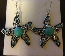 ROYAL BALI TURQUOISE / BLUE TOPAZ STARFISH SILVER EARRINGS 2 IN