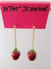 E307 Betsey Johnson Gem Dangling Apple Eden Garden Apple Earrings  UK