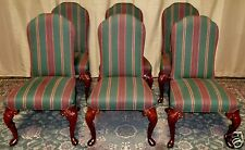 HICKORY CHAIR DINING CHAIRS Upholstered Carved Cabriole Legs Set of 6 VINTAGE