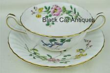 "Delightful Minton England ""Dainty Sprays"" Bone China Cream Soup & Saucer"
