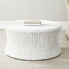 Ruxton White Wicker Ottoman Storage Bench Furniture Living Room Bed Foot Table