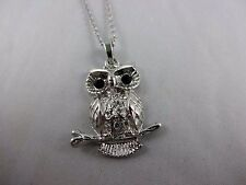 Owl necklace silver cable chain lobster clasp rhinestones bird fresh