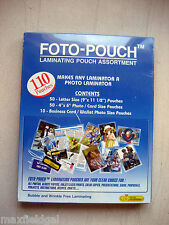 NEW Foto-Pouch Laminating Asort FCG-195, 110 pouches=50 letter, 50 photo, 10card