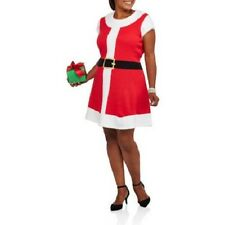 NEW WOMENS PLUS SIZE 4X MRS OR SANTA CLAUS RED & WHITE CHRISTMAS SWEATER DRESS