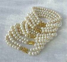 """New Wholesale 5PC 7-8mm White Akoya Cultured Pearl Bracelet 7.5"""""""