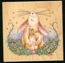 mother BUNNY RABBIT wood mounted RUBBER STAMP's Happen! NEW! Easter bunnies USA