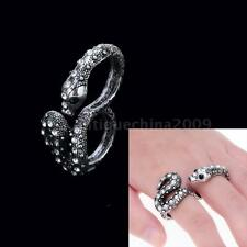 Vintage Punk Cool Snake Serpent Crystal Two Connetor Stretch Finger Ring Band