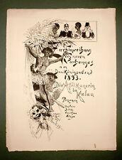 Die Afrikanerin in Kalau Posse Theater 1855 Orig Plakat Düsseldorf Malkasten