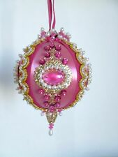 Vintage Hand Crafted Satin Beaded Sequin Pink Christmas Holiday Ornament