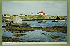 Vintage Postcard Unposted Color Blue Rocks Nova Scotia Sand Cove Canada Fishing