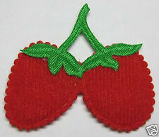 Padded Felt Strawberry Appliques x 50 Red-Scrapbooking