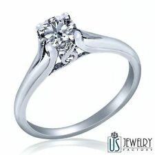 100% Natural Round Cut Diamond Engagement Ring 14k Gold 0.42 Ct (0.39) G-H/SI2