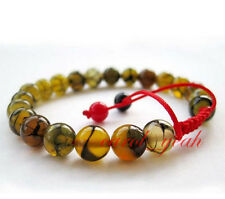 Fashion 8 MM Natural Dragon Veins Agate Round Gemstone Stretchy Bangle Bracelet