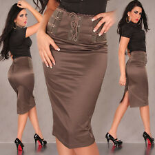 NEW SEXY HIGH WAISTED PENCIL SKIRT SIZES 8-14 BLACK/BROWN/RED OFFICE COTTON POLY