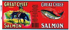 TIN CAN LABEL VINTAGE SALMON ORIGINAL GREAT CHIEF AMERICAN INDIAN U.K. ENGLAND